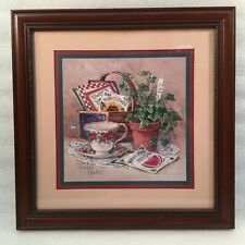 Home Interiors Framed Picture by Barbara Mock Gardening Teacup/Flower Seeds/Ivy