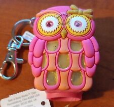 New Bath & Body Works Light Up Pink Owl Pocketbac Keychain Sleeve Hand Sanitizer