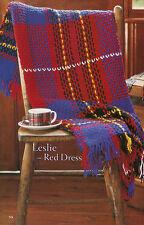 SCOTTISH TARTAN THROW RUG 'Leslie Red Dress' AFGHAN CROCHET PATTERN 8ply WOOL