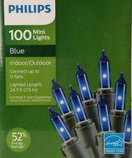 Christmas Philips 100 Mini Lights BLUE Indoor Outdoor Green Wire NEW