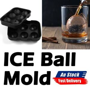6 Large Ice Ball Maker Cube Tray Big Silicone Mold Sphere Whiskey Round Mould