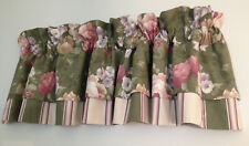 JC Penney Green Floral Layered Stripe Blouson Valance 83 x 19 USA Made