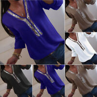Plus Size Women Chiffon Long Sleeve Loose Blouse T Shirt Comfy Baggy Top Tee