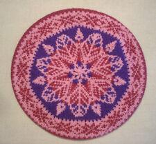 Women's New Hand Knit Fair Isle Wool Beret Tam Hat Purple Pink