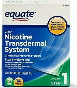 EQUATE Nicotine Transdermal System Step 1 21mg Clear Patch 14 Pieces