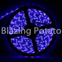 LumenWave 5M 5050 IP65 Waterproof Flexible 300 LED Strip Lights -Black PCB- Blue