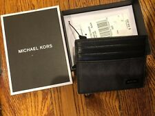 3115f9269de3 NWT Michael Kors Mens Jet Set PVC Leather Tall Card Case Wallet Black White   48