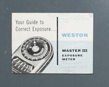 Weston Master Iii Exposure Meter Instruction/133559