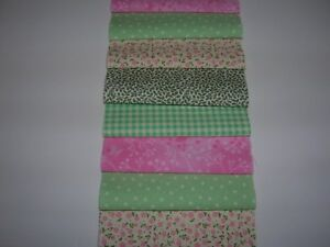 """50 x 4"""" CHARM PACK SQUARES PINK&GREEN  100% COTTON PATCHWORK/QUILTING  PRN"""