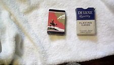 DE LUXE QUALITY PLAYING CARDS 52 + 2 FABRIC FINISH GOOD CON TATTY BOX