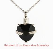 """Fancy Black Heart Cremation Jewelry Keepsake Pendant Urn w/ 20"""" Necklace, Funnel"""