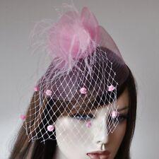 Haargesteck ROSA PINK Fascinator Schleier Pünktchen Haarschmuck Netz Federn NEU