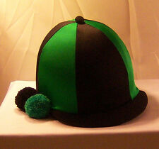 RIDING HAT COVER - BLACK & EMERALD GREEN