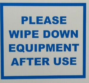 PLEASE WIPE DOWN EQUIPMENT SIGN Shop / Gym / Machinery / Vinyl Square Sticker