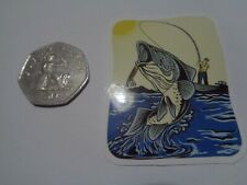"""Fishing Box,Phone,Laptop or Car Vinyl Sticker """" Hooked Fish from Boat"""