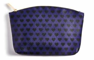 (50) November 2018 Blue with Black Hearts Ipsy Glam Bag NEW (Bag Only)