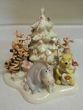 LENOX Disney Showcase Pooh's Tree Trimming Party Sculpture Figurine Christmas