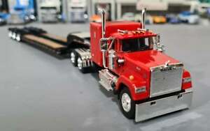 1/64 DCP MACK SUPERLINER IN RED WITH TRI AXLE HEAVY HAULER TRAILER