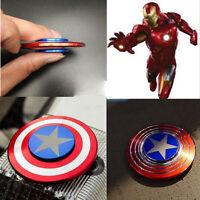 Aluminum Captain America Fidget Hand Finger Spinner Toy EDC Focus ADHD Autism