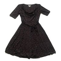 MONSOON Black Viscose Jersey Fit & Flare Dress Spotty Print in Red/White 14 Z4