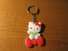 HELLO KITTY BOW Automobile Keychain Key Chain PVC Rubber FOB with Metal Ring