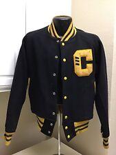 1945 Texas High School Varsity Letterman Jacket Gold Black Letter C Mens Size?