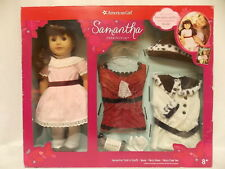 "American Girl SAMANTHA 18"" DOLL & TWO OUTFITS Party & Fancy Coat + Book NEW*"