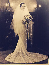 1930's B&W Portrait Photo Beautiful Young Bride Wealthy Letz Mfg Family Etherial