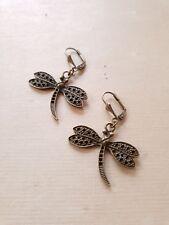 Wunderschöne Libellen Ohrringe ♥ Handgefertigter Schmuck in Vintage Bronze
