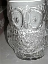 "SET OF 6 OWL DRINKING GLASSES - VERY ORNATE CLEAR GLASS TUCKD WINGS 5"" TALL X 3"""