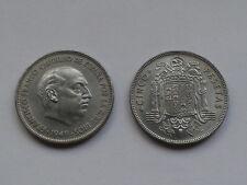 SPAIN KM#778 FRANCISCO FRANCO 5 PESETAS 1949 *19*50 NIQUEL-HIERRO SC UNC
