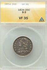 1834 Capped Bust Quarter B-3 ANACS VF-35