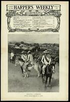 Filipino Cowboys longhorn Luzon Philippines SE Asia 1900 Harper's Weekly print