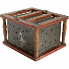 Antique American Primitive Punched Tin and Pine Carriage Foot Warmer c  1820