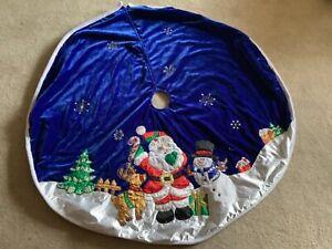 """Christmas Tree Skirt Blue Velvet Blue 46"""" Round / Santa, Reindeer, Sequins"""