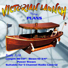 """Full Size Printed Plan build a 1: scale 40 1/2""""  R/C Steam Victorian Launch"""