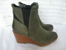 Sorel After Hours Women's Chelsea Wedge Ankle Boots Size 9/40 Olive Green Suede