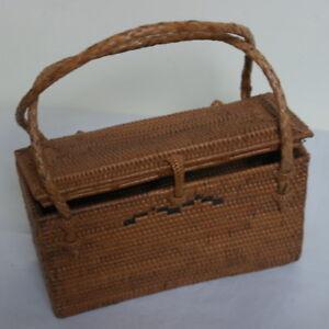 "Beautiful Vintage Indonesian vowen straw handbag in brown Color 7""12X4""12 X3"""