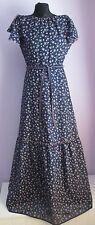 Vintage Femmes Daggi bleu marine en coton fleuri superposée en polycoton Prairie robe style Sze 10