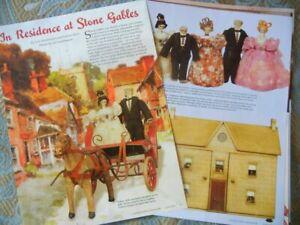 8p History Article -  Antique English Stone Gables Dollhouse & Linen Dolls
