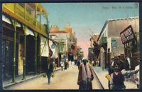 Suez 1900 Postcard 100% animated Rue de Colmar, with 2 stamps, used