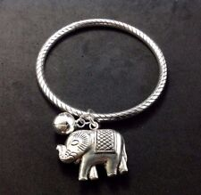 Adorable Elephant Charm Sterling Silver 925 Etched Bangle Women Jewelry Bracelet