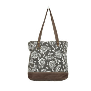 Flowered Recycled Canvas + Leather Tote Bag Gray/Brown Zip Pocket on Back Lined
