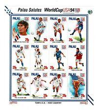 Sellos Palau WorldcCup Usa 94 Team USA fooball futbol equipo stamps
