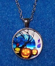 "Silver 20"" Necklace Women MOON HALLOWEEN PUMPKIN 20"" Pendant  Free $10 GIFT"