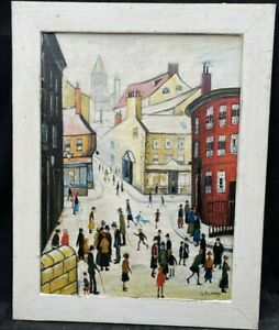 1960/70s SCHOOL OF  L.S.LOWRY OIL PAINTING - STUNNING MATCHSTICK MEN ON PANEL