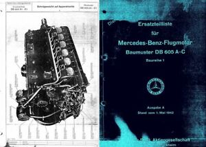 Daimler-Benz DB 605 Aero Engine Parts Service Repair Manual 1940's WW2 Me 109