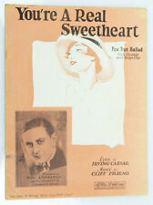"""You're A Real Sweetheart"" 1928 Vintage Sheet Music Fox Trot Ballad Ukulele"