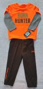 NWT Under Armour Boys 2 Piece Mock-Layer Shirt Pants Set Toddler Born Hunter 24M