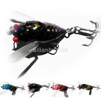 AU Plastic Popper Fishing Lures Bass CrankBaits Cicada Tackle 4cm / 6.4g 2 Hooks